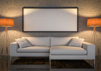 43370471 - mock up poster, leather sofa, concrete wall background, 3d illustration