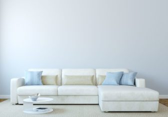 42131880 - modern living-room interior with white couch near empty blue wall. 3d render. photo on book cover was made by me.