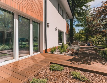 Villa porch with glass terrace door on sunny day